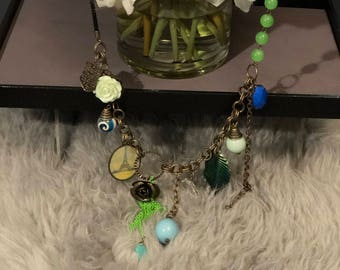 Vintage Beaded Necklace with Hanging Charms - Unique!