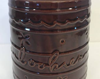 "Vtg MARCREST Jumbo Cookie Jar Daisy Dot Brown Stoneware Canister 9.25"" Lid"