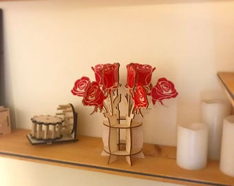 Laser Cut Wood Rose Bouquet - Red - Screen Printed in Rich Color