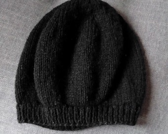 Hand knitted black beret