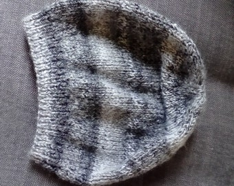 Hand knitted grey multi shade beret