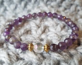 Purple Amethyst Beaded Bracelet