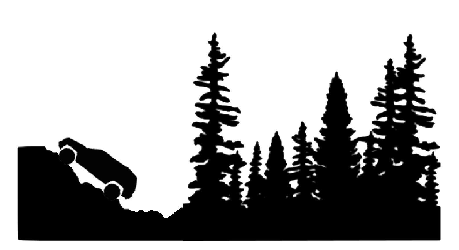Christmas Jeep Silhouette.Jeep Decal Climbing Jeep With Woods Corner Jeep With Woods