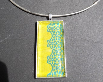 rectangle glass necklace