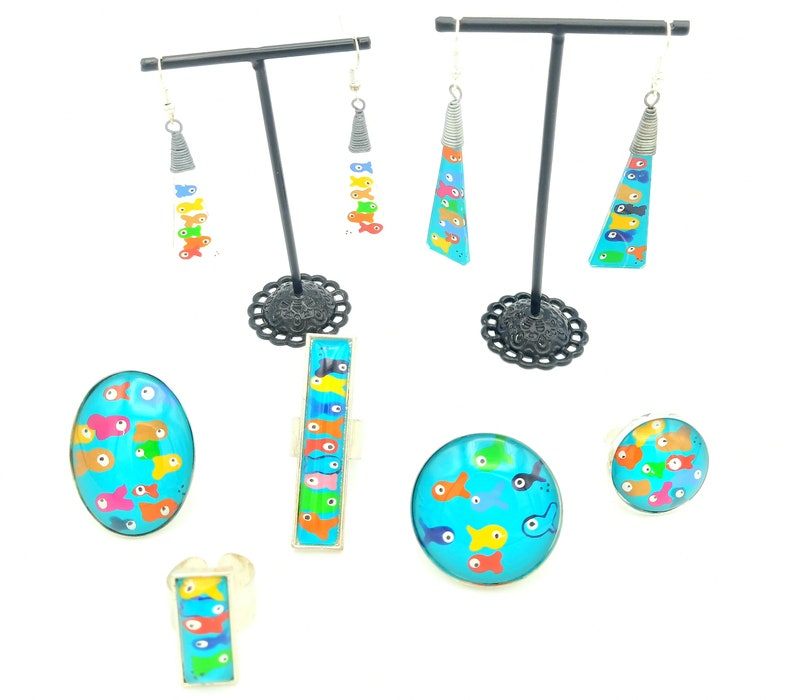 Hand-painted glass collection earrings rings