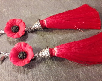 pompon poppy earrings