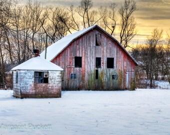 Barn in Winter, Barn, Rustic, Country, Farm, Winter