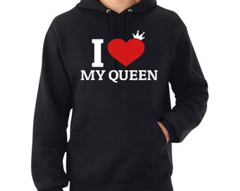 i love my king unisex king and queen couple design hoodie matching love funny cutei love my queen
