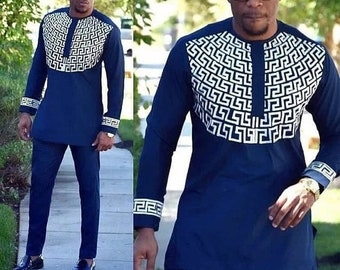 Mens african wear with embroidery, embroidered mens african clothing, mens  native wear, mens kaftan, mens traditional wear, african menswear