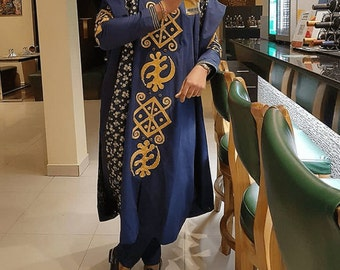 717d1226962194 Blue mens agbada, African men clothing, african clothing, african men,  african clothes for men, african man, african top and pants, agbada