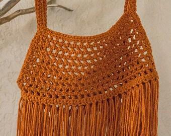 Camilla - S/M Orange crochet fringe crop top - Festival clothing for women - Gypsy boho - Handmade Coachella outfit - Burning man tank
