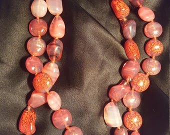 Vintage pink  stone necklace