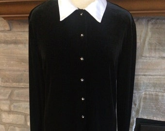 73f9aa5c522f Vintage Black Velvet Dress by Ronni Nicole Ouida Size 14 Holiday Dress  Black Long Sleeve Party Dress Brand New with Tags