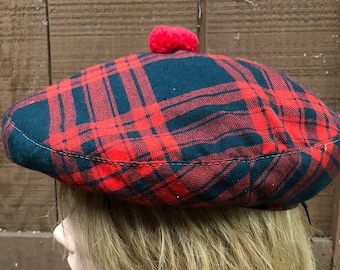 900563ce732 Vintage Scottish Tartan Plaid Wool Tam Pom Pom Hat Made in Scotland Beret  Dominion Hat and Cap Co Retro Red Lined Back Tie Hat Viyella