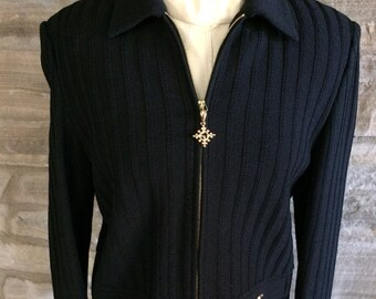 82875fd78432c Exquisite Black St John Marie Gray Santana Knit Designer Sweater St John  Jacket Size 2