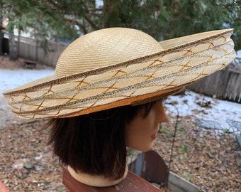 Tan Gold Straw Hat Wide Fancy Brim Vintage Fashion Sun Hat Gold Trim Unique  Shape Ladies Summer Beach Garden Party Vintage Hollywood Style b50092ded8e4