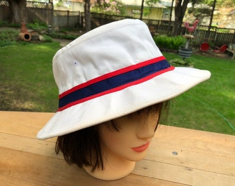 White Bucket Hat Grandpa s Vintage Fishing Hat Grandma s Vintage Sun Hat  Gardening Hat White Hat Red White Blue Size XL Cotton Canvas Hat 69021f7149bd