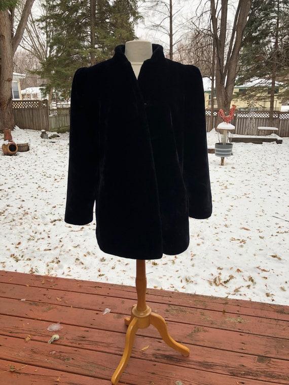 Vintage Sasson Black Faux Fur Coat 1980s Glam Metr