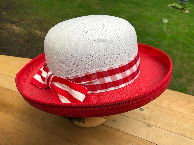 24c11117fad6d Vintage Straw Hat Sun Hat Red and White Made in USA Retro