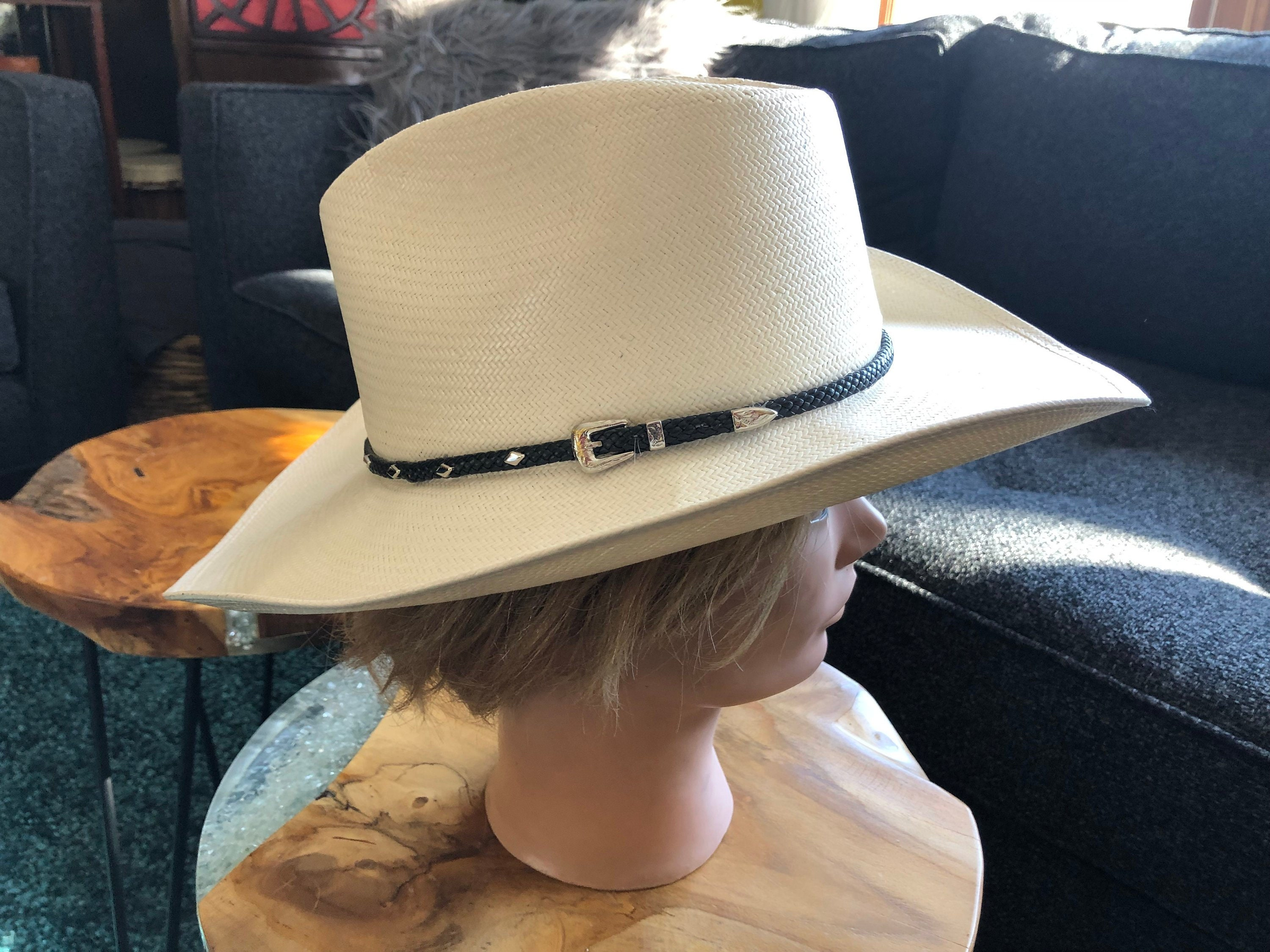 Vintage Stetson Cowboy Western Hat Authentic X's Genuine Shantung Panama  Made in USA Size 7 Cattleman Crown Straw Leather Band Silver Accent