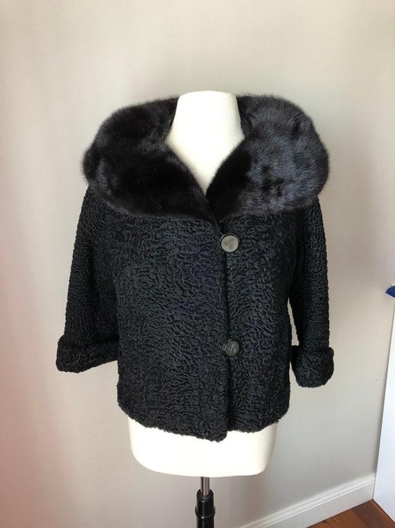 Vintage Black Curly Lamb Coat Black Persian Lamb w