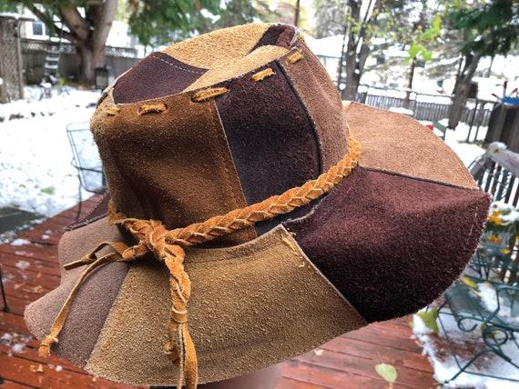Vintage Leather Hippie Hat Brown Suede Patchwork 1