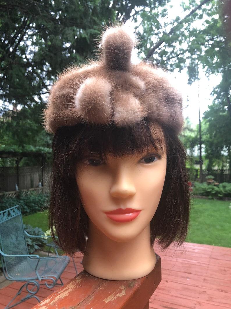 Funky Fur Hat Vintage Pillbox Beige Tan Real Fur Front Fur Bow Hollywood Glamour Retro Boho Bohemian Womens Winter Mid Century 1950s Hat