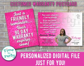 Customized Customer Warranty Postcard for Direct Sales - DIGITAL DOWNLOAD Print Yourself