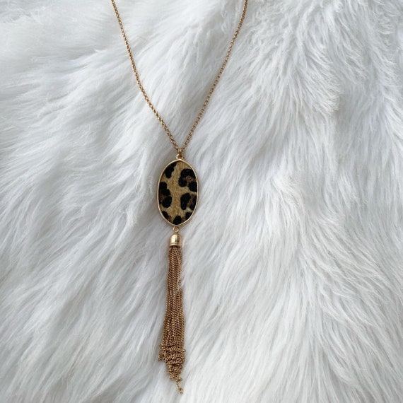 leopard necklace Oval leopard print tassel necklace leopard tassel jewelry cheetah tassels