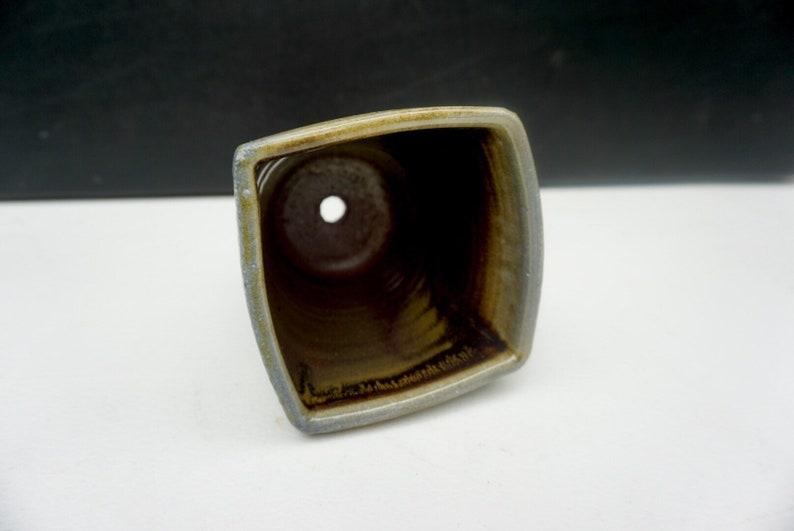 Squared top planter with dark glaze