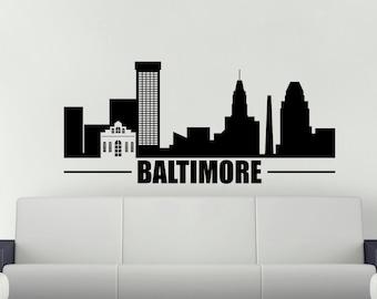 Baltimore Wall Decal, Skyline Vinyl Wall Decal. Maryland Home Decor,  Bedroom Decor Skyline Vinyl Decal, Skyline Sticker, Office Wall Decal