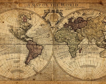 Framed world map etsy vintage world map old history of the world landscape wall art large photo poster framed canvas picture prints gumiabroncs Images