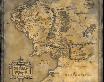 lord of the rings map middle earth fantasy movie wall art canvas picture print various sizes