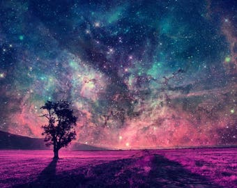 FANTASY STARS LANDSCAPE Field Purple Pink Contemporary Galaxy Modern Colourful Patterns Painting Wall Art Canvas Picture Print Various Sizes