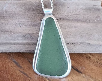 Light Olive Green Sea Glass and Sterling Silver Pendant Necklace, Beach Glass Jewelry, Genuine Sea Glass, Beach Glass Jewelry, Gift Ideas