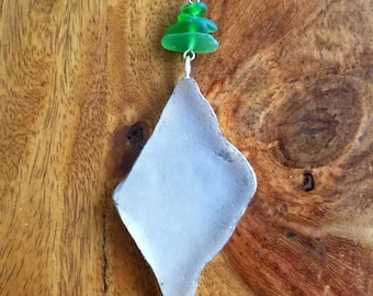White Sea Glass Pendant with Green Sea Glass Bead Necklace
