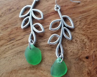 Green Sea Glass with Branch Earrings