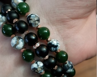 Tri Colored Gemstone Stretch Bracelet