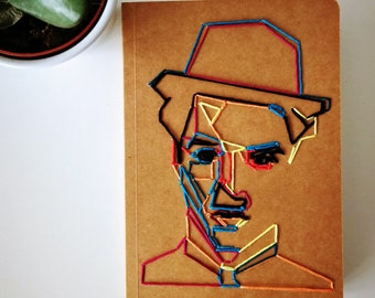 Embroidered notebook- Charlie Chaplin.