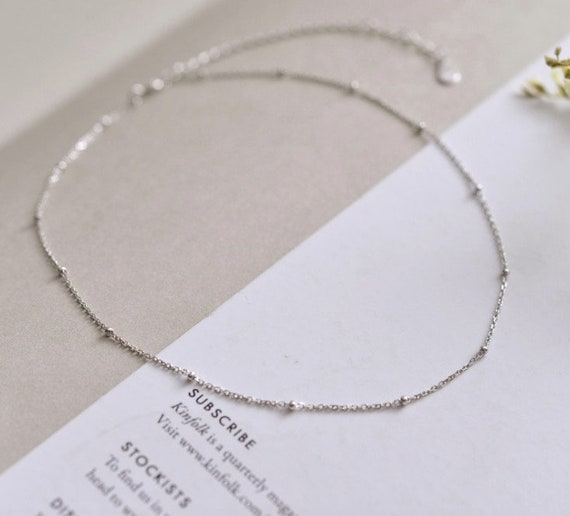 Necklace Simple Delicate Silver Charm Modern Necklace Silver Etsy