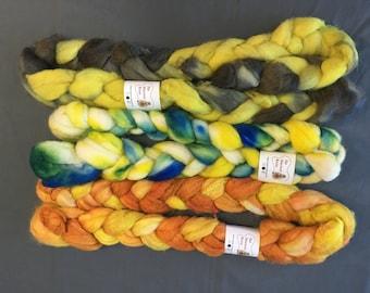 Hand dyed Roving Box - Merino Silk 65/35, Alpaca, BFL