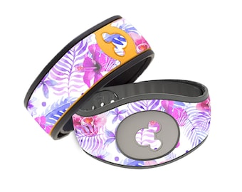 Watercolor Purple Flowers Disney Magic Band Decal - Cute Floral Flower Garden- RTS Ready To Ship - Magic Band 1.0 or 2.0 Skin