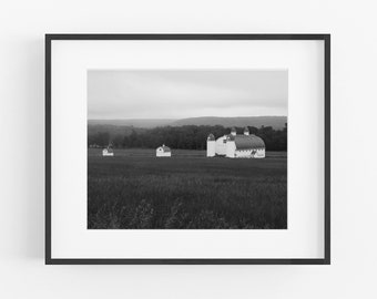 D. H. Day Farm Barn, Black and White Cathedral Barn Photograph