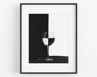 Wine Glass Photography, Black and White
