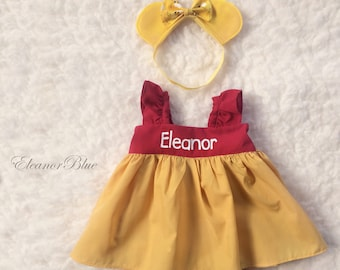 f55413ebd4ca Winnie the Pooh Personalized Baby Toddler Dress Set Dress Bloomers Headband