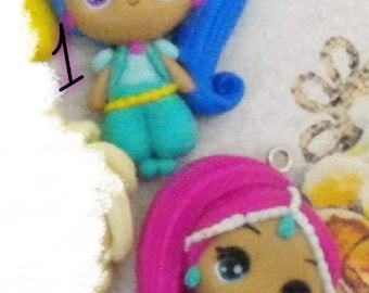 Clay, dolls, Shimmer and shine, embellishments, flatback, hair bows, magnet, jewellery, clay dolls