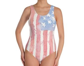 American Flag One Piece Watercolor Swimsuit, 4th of July Swimsuit, Patriotic Swimsuit, Red White and Blue swim, Bikini, Patriotic Bikini