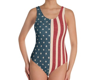 Vintage American Flag One Piece Swimsuit, 4th of July Swimsuit, Patriotic Swimsuit, Red White and Blue swim, Bikini, Fourth of July, Whole