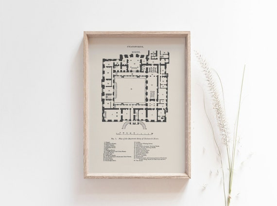 A5 A4 Chatsworth House Ground Floor Plan Giclee Art Print Etsy