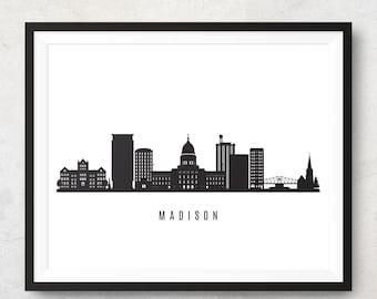 Madison skyline etsy madison skyline printable madison wisconsin black white wall art poster cityscape digital print vector illustration jpg png eps publicscrutiny Choice Image